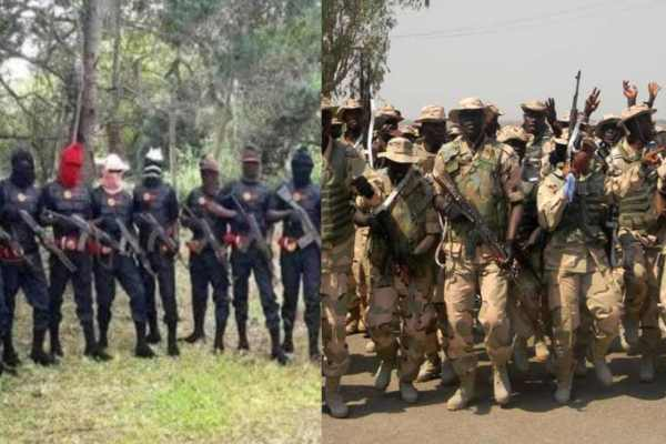 Nigerian Army Vs ESN. Security men engaged in a face off in Abia