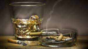 alcohol and cigarette